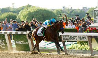 American_Pharoah_wins_2015_Belmont_Stakes